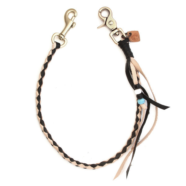 Black and natural veg tan round braided leather tether