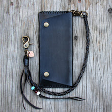 Load image into Gallery viewer, Black leather round braid lanyard with wallet