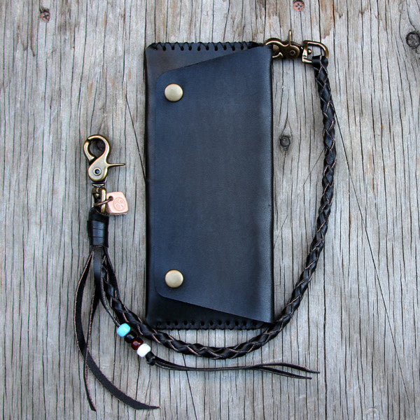 Black leather round braid lanyard with wallet