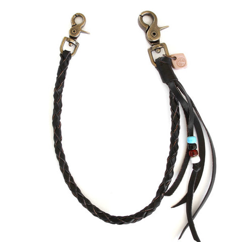 black braided leather wallet chain