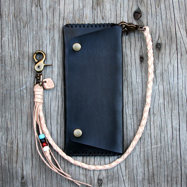 Natural veg tan biker wallet with braided lanyard