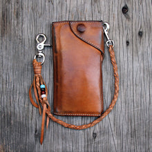 Load image into Gallery viewer, Aged natural veg tan wallet and tether