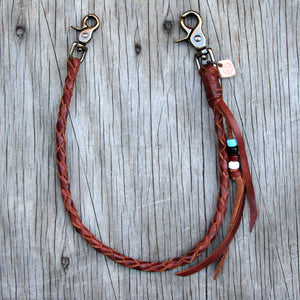Tan Horween Chromexcel Braided Leather Wallet Chain