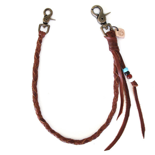 brown braided leather wallet tether
