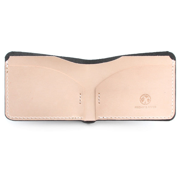 Black English Bridle Slim Wallet Open