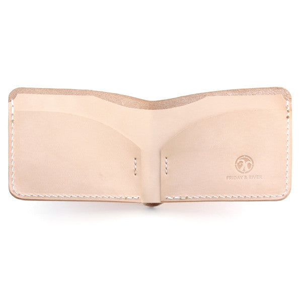 Natural Veg Tan Slim Wallet Open