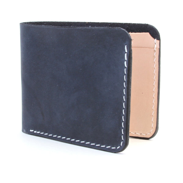 Dyed Indigo Leather Billfold Wallet and Veg Tan