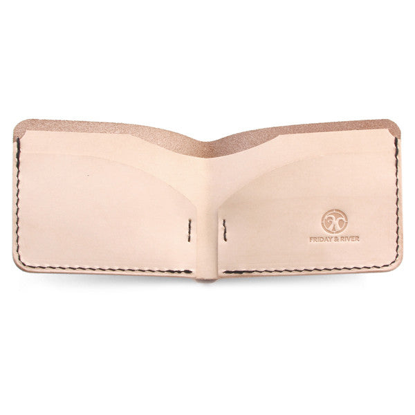Dyed Natural Veg Tan Billfold Wallet Open