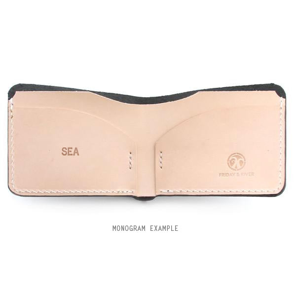 Leather monogrammed billfold