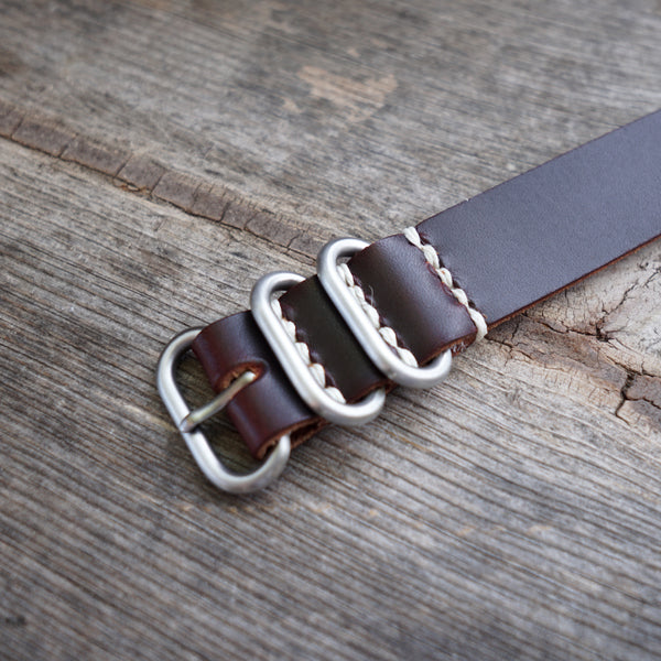 Tan horween chromexcel watch band with stainless hardware