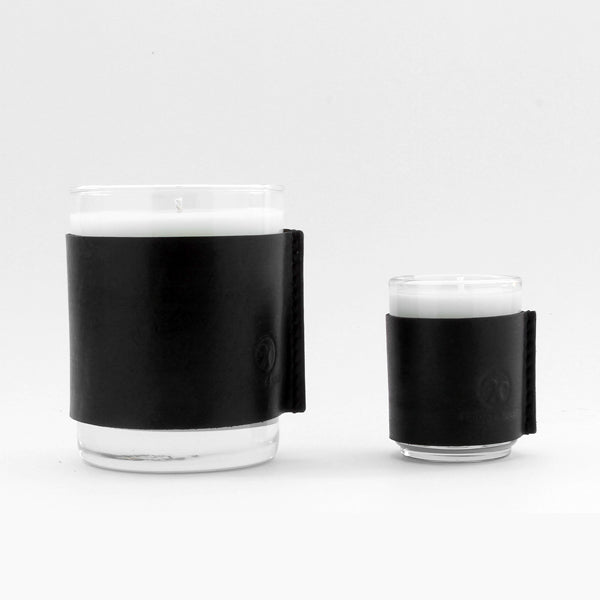Black leather wrapped small candles