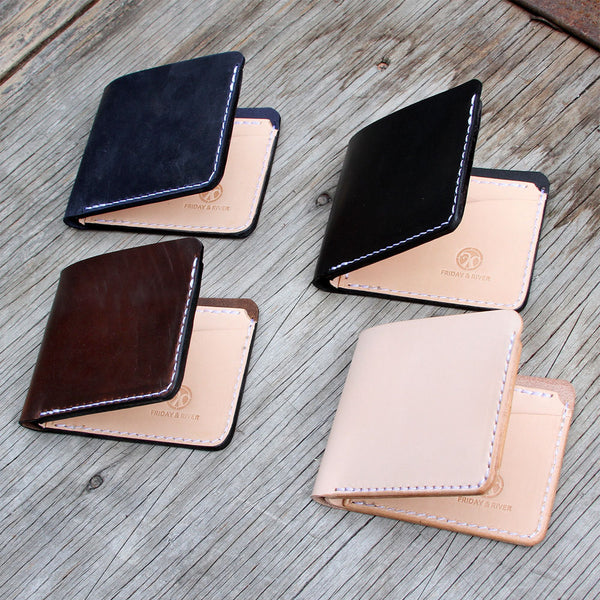 classic handmade made in usa billfold black brown indigo and natural