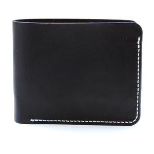 Black bridle leather wallet outside