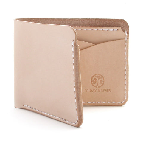Natural veg tan billfold wallet