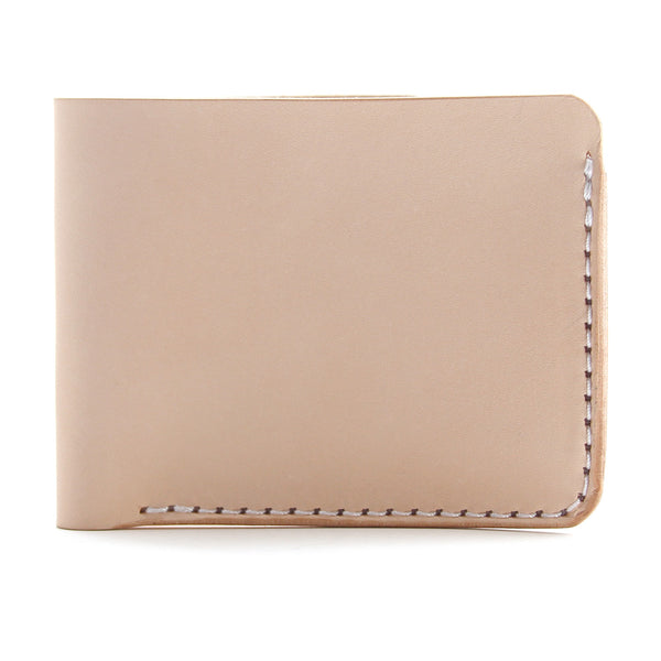 Natural vegetable tanned leather wallet side