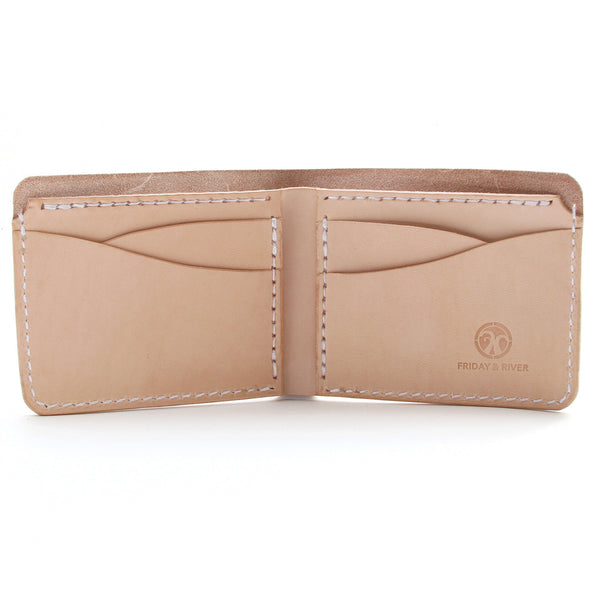Natural veg tan wallet inside pockets