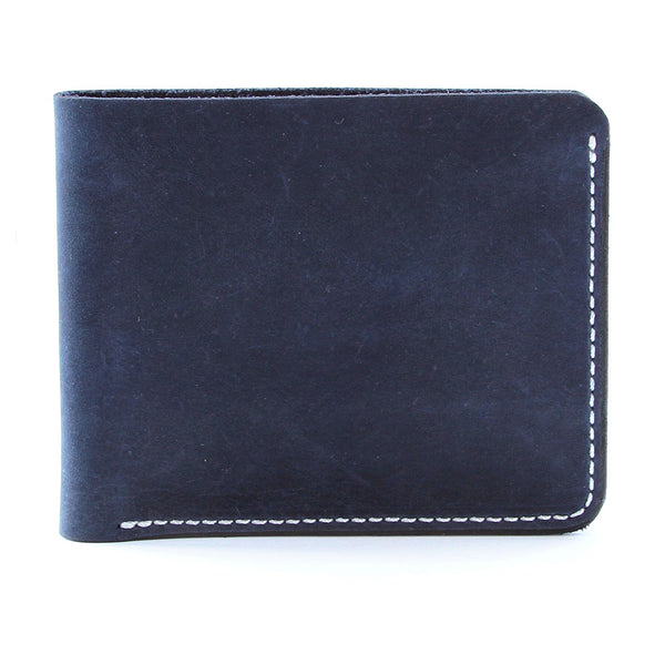 Oiled indigo blue billfold wallet side