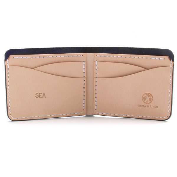 Monogrammed leather indigo wallet
