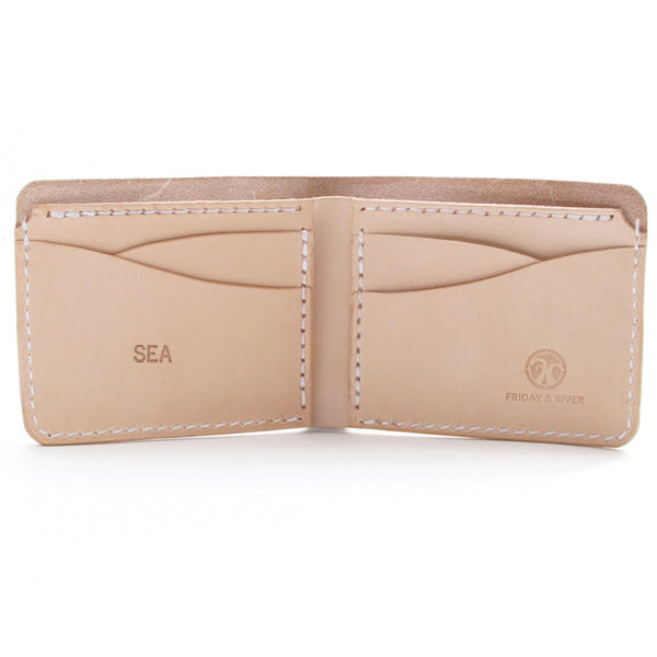 Natural veg tan monogrammed wallet