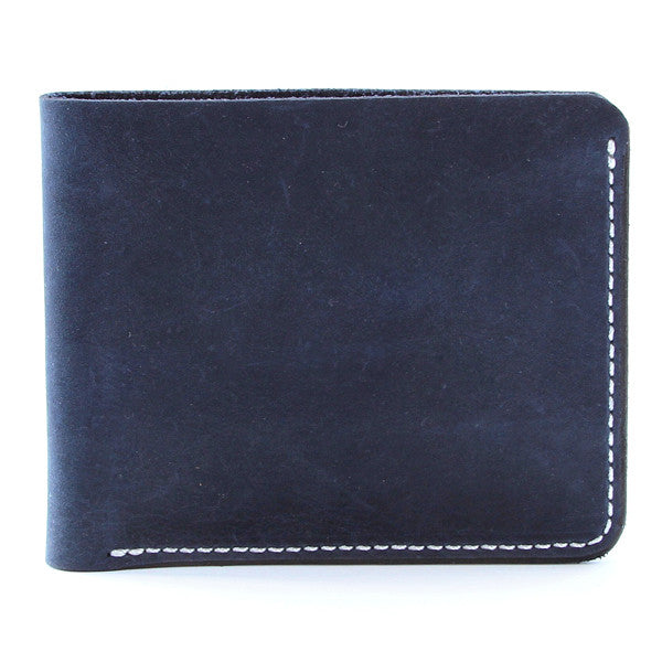 Dyed Indigo Leather Billfold Wallet