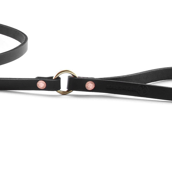 Slim Wickett and craig black dog leash with brass hardware detail