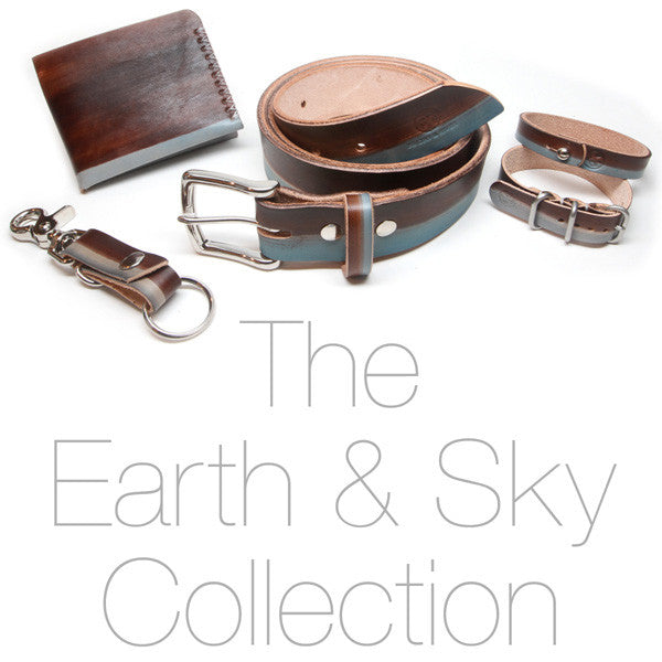 Blue and Brown Earth and Sky Hand Dyed Leather Collection