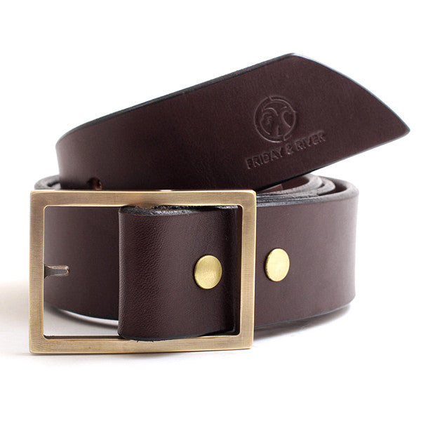 J.L. Lawson Brass Belt Buckle Custom Leather Belt