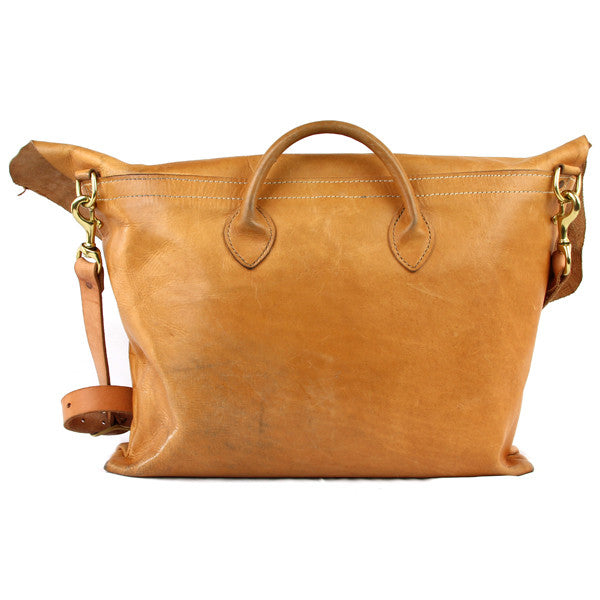 large veg tan leather messenger bag back
