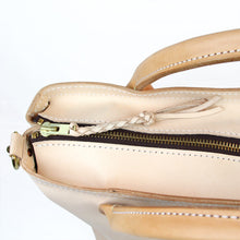 Load image into Gallery viewer, Large leather handmade veg tan travel bag braided zipper pull