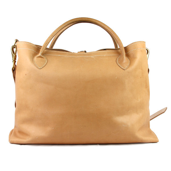 Large leather carryall front
