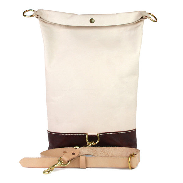 Leather rolltop bag open