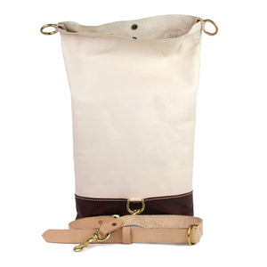 leather rolltop backpack sling open