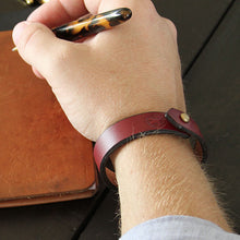 Load image into Gallery viewer, Burgundy mens leather bracelet lifestyle