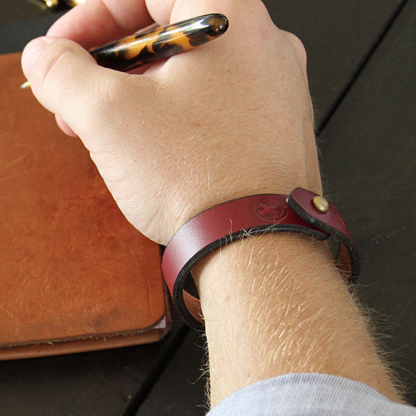 Burgundy mens leather bracelet lifestyle