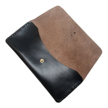 Load image into Gallery viewer, black chormexcel leather pencil case open