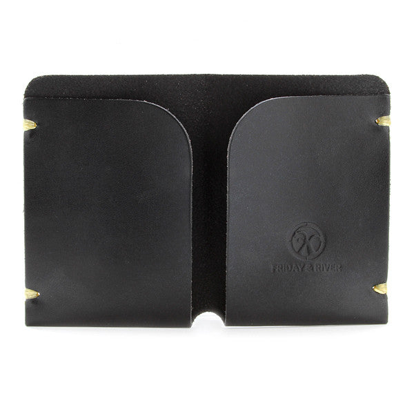 Minimal black leather card holder