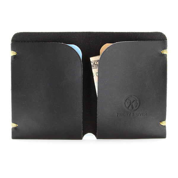 Minimal black leather card wallet Open