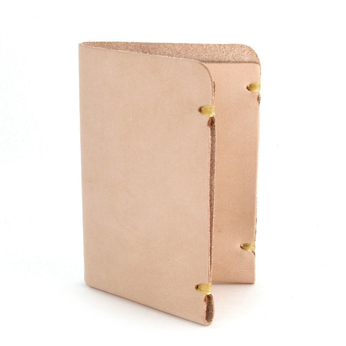 natural vegetable tanned leather card wallet