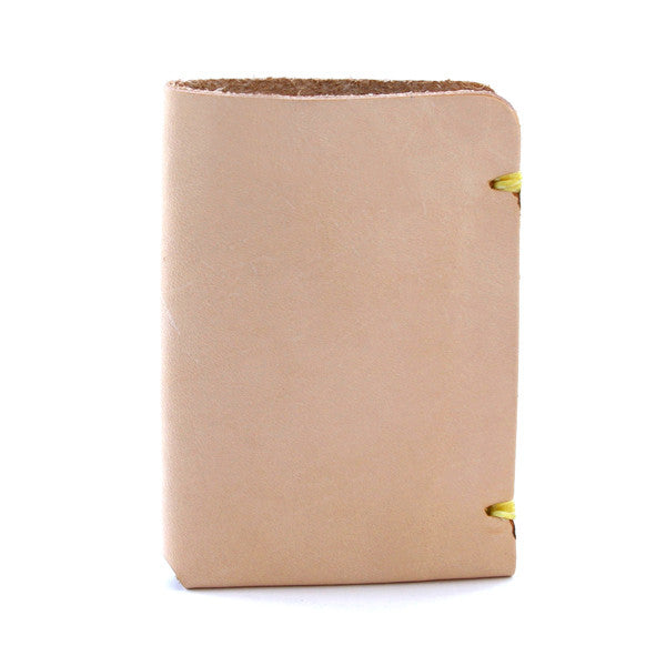 natural vegetable tanned leather minimal card wallet side