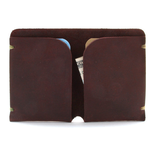 McGraw Minimal Leather Card Case Brown Open