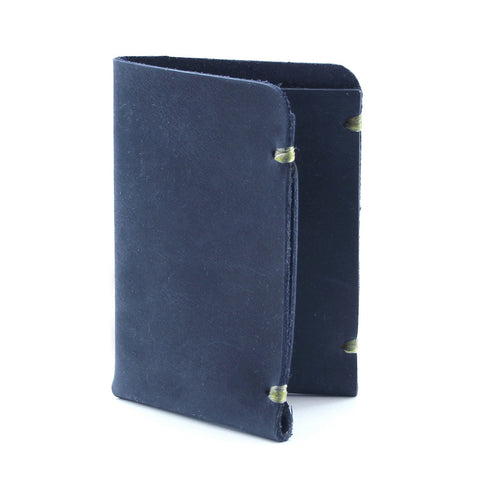 Minimal blue indigo leather minimalist wallet