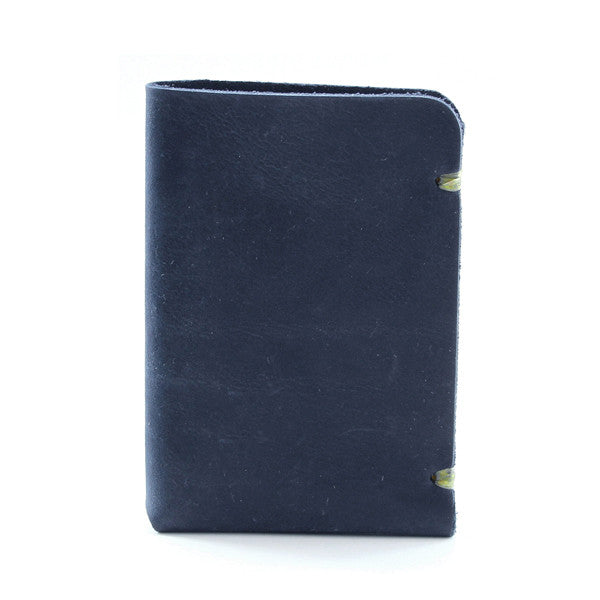 Minimal blue indigo leather card case Side