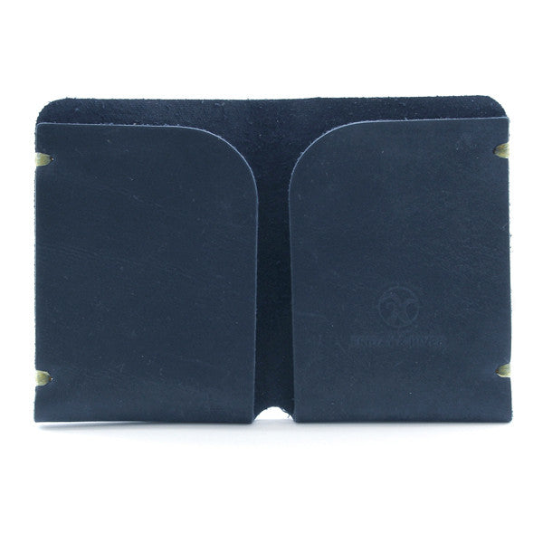 Minimal blue indigo leather card case Open
