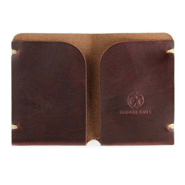 Tan Horween Chromexcel Minimal Card Wallet Open