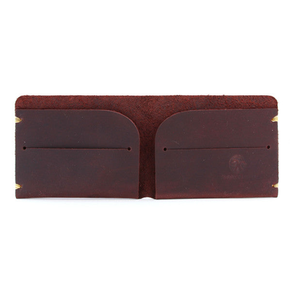 oiled brown leather minimal billfold