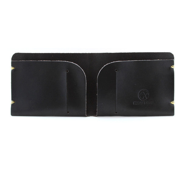 McGraw Black English Bridle Leather Wallet Open