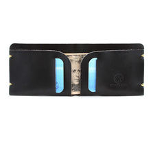 Load image into Gallery viewer, McGraw Black English Bridle Minimal Leather Billfold with contents