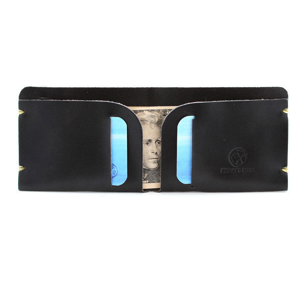 McGraw Black English Bridle Minimal Leather Billfold with contents
