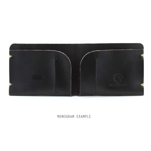 Black bridle leather monogrammed wallet