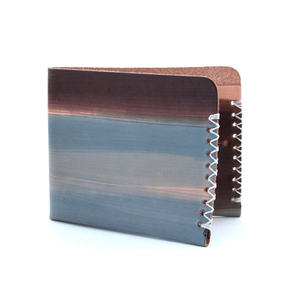 Blue and brown dyed art wallet